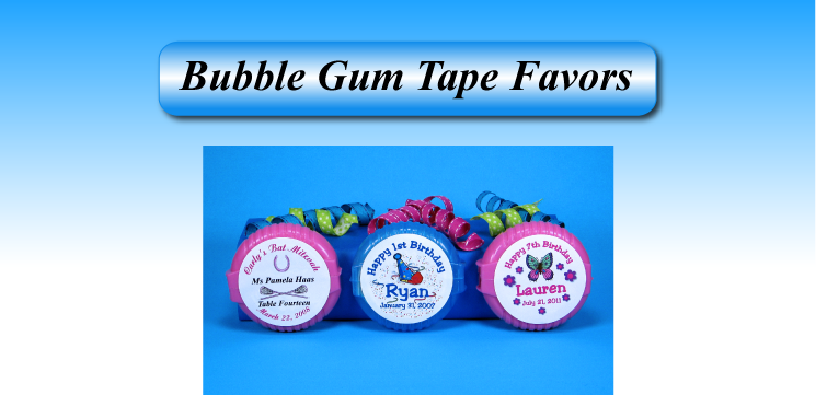 Personalized Bubble Gum Tape favors